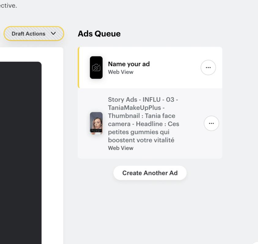 Colonne de droite pour configurer ses créatives Snapchat Ads